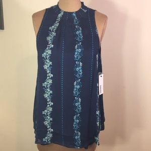 Blue Floral Mock Neck Silky Flowy Layered Tank Top